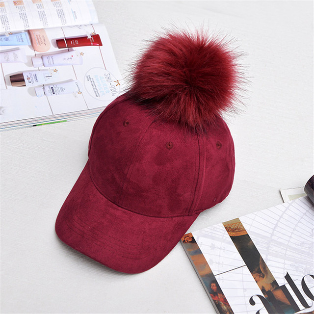 74db3731380 Winter Women Felt Hat With Fur Pom Pom Fashion Hat Femme Peaked Cap Riding  Hat Girls Adjustable Baseball Cap Hat Christmas Gift