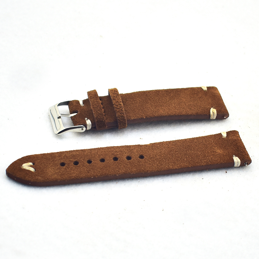 Brown Watch Bands Strap Watchband Suede Leather Men Women Genuine 18mm 20mm 22mm Watch Strap High Quality Watch Belt KZSD08 in Watchbands from Watches