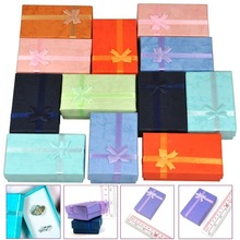 Купить с кэшбэком 12Pcs Mixed Color Jewelry Gift Paper Boxes Organizers for Ring Earring Necklace Bracelet 5x8x2.5cm