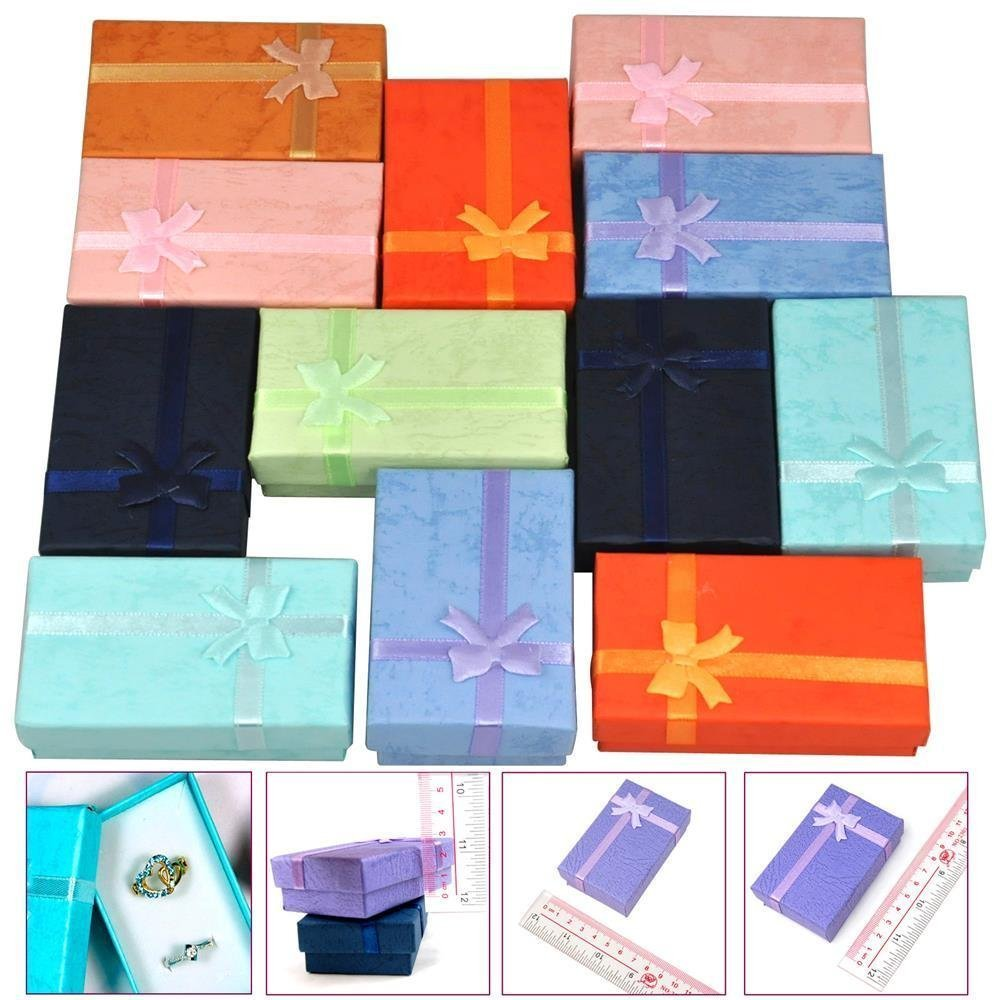 12Pcs Mixed Color Jewelry Gift Paper Boxes Organizers for Ring Earring Necklace Bracelet 5x8x2.5cm