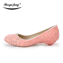 BaoYaFang Pink/cream/Royal blue pearl wedding dress shoes womens 2cm wedges Big size 44 party shoes round toe