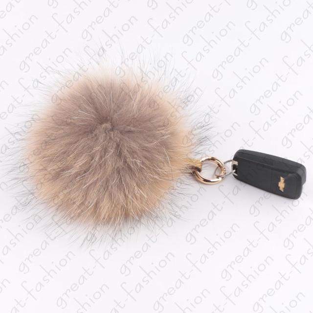 Fur ball keychain Raccoon Fur Pompoms Bag Pendant Accessories Autos Keychain Key Ring Fur accessories