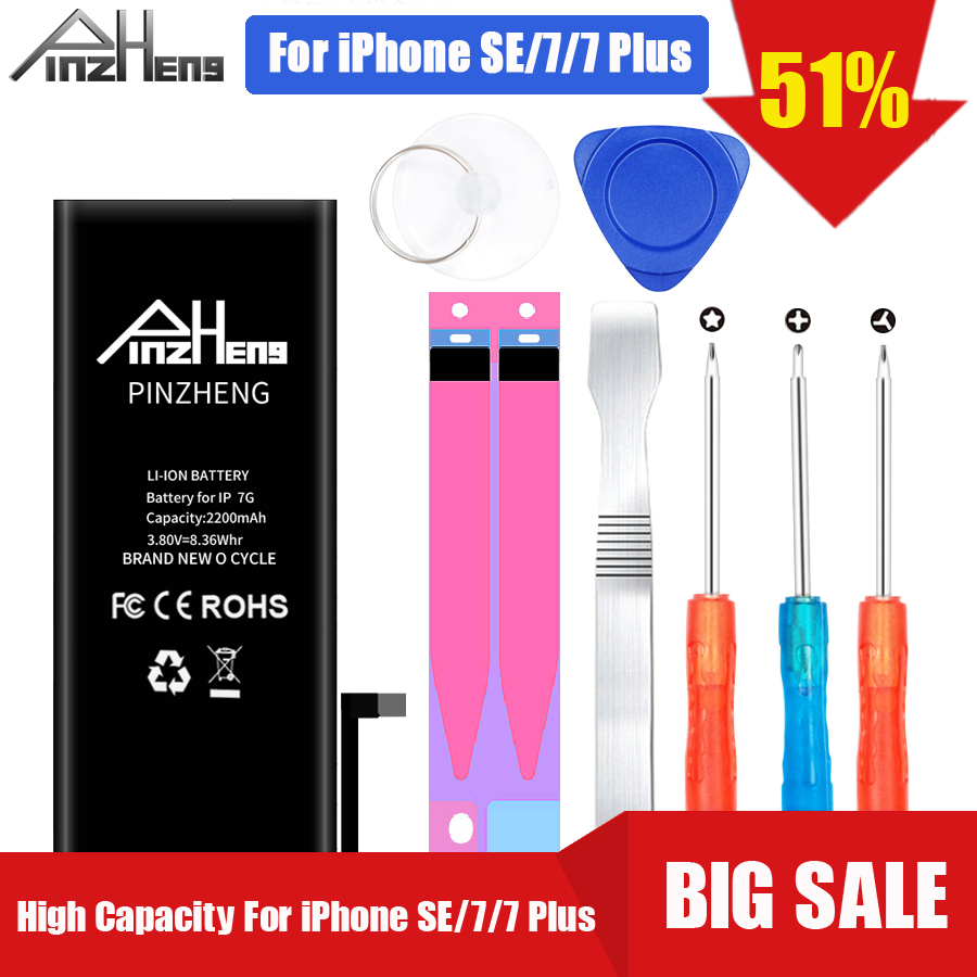 PINZHENG Telefone Bateria de Alta Capacidade Para o iphone 7 0 7 Mais SE Substituição Batterie Bateria de Ciclo Para o iphone 7 7 além de Baterias