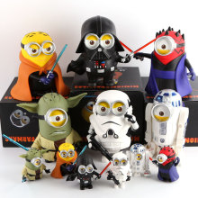 6pcs/lot H-Q! 10cm Minions Cosplay Star Wars Darth Vader Darth Maul Luke Yoda PVC Soft Material Decoration Action Figures Toys
