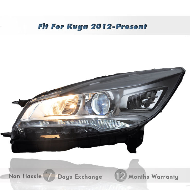 Projector Headlights Replacement Bi-Xenon Headlamps LED DRL HID Bi- Xenon Beam Fit 2012~2015 FORD KUGA ESCAPE - wilconnauto store