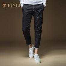 Pinli Real Elastic Waist Enzyme Wash Acetate Slim Mid Pencil Pants 2016 Autumn New Mens Only Jeans Trousers Men's D163316018