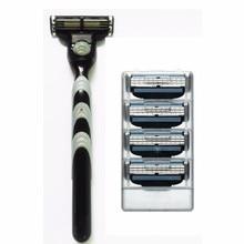 Men Shaving Set Razor Holder & 4 Pcs 3 Razor Blade for Men Shaver Cassette Straight Razor Set Men Safety Shaving Blades Trimmer