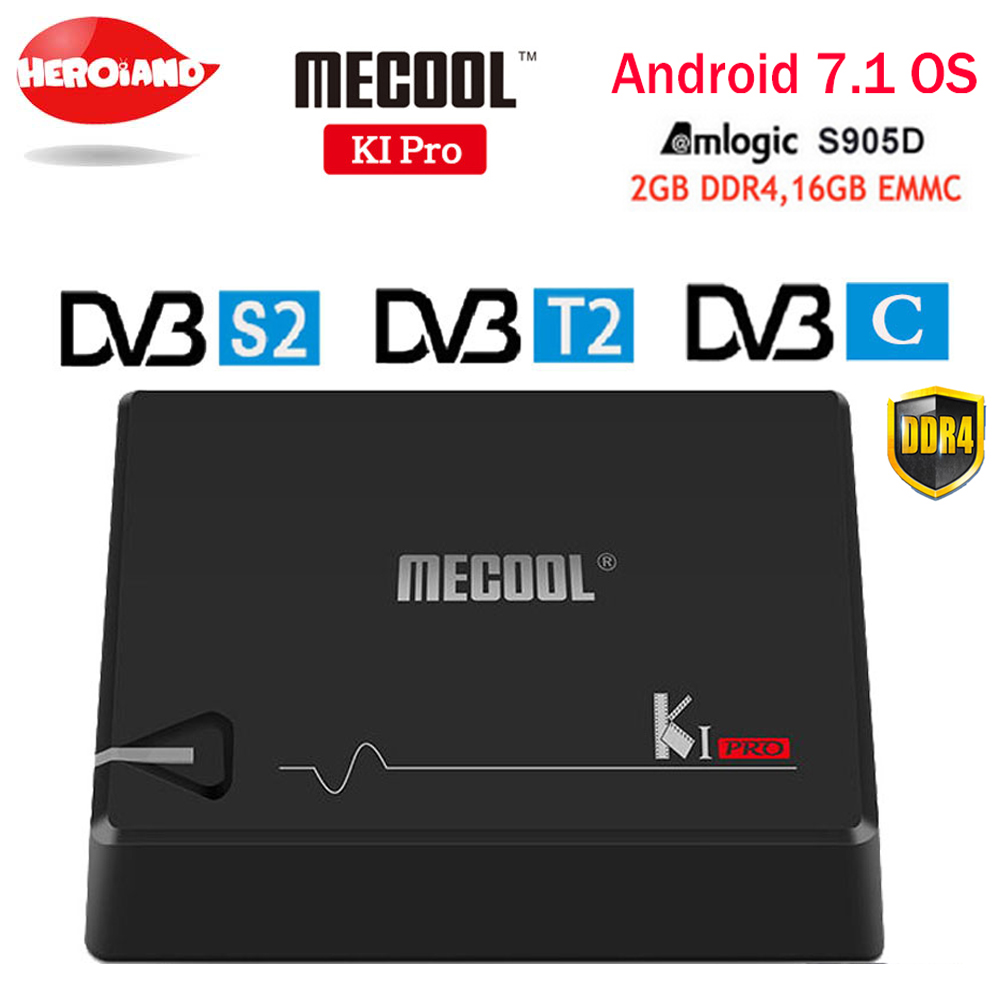 MECOOL KI PRO TV Box K1PRO DVB S2+T2 Amlogic S905D Quad 2G+16G DVB-T2&S2/DVB-T2/DVB S2 DVB-C Set Top Box Android 7.1 TV Box k1 dvb s2 android 4 4 2 amlogic s805 quad core tv box