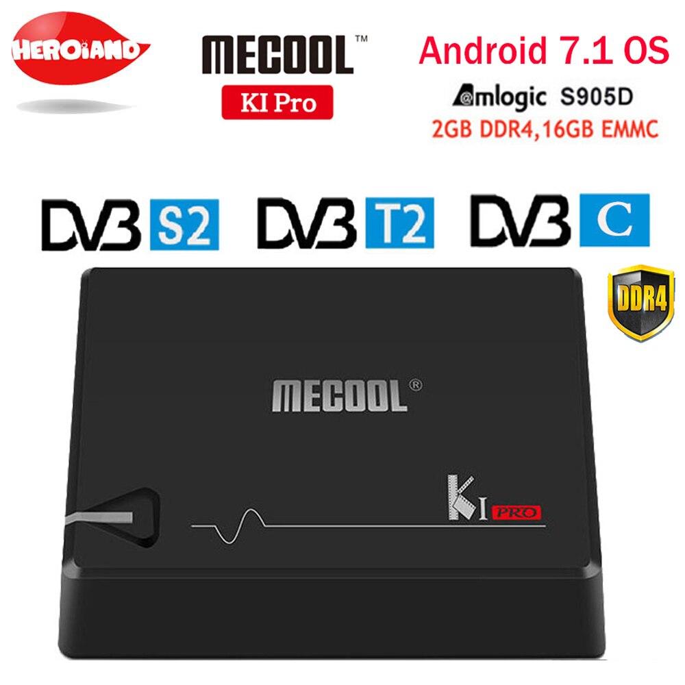 Mecool Ki Pro TV caja K1PRO DVB S2 + T2 amlogic S905D Quad 2G + 16G DVB-T2 y s2/DVB-T2/DVB S2 DVB-C Set Top Box Android 7.1 TV box