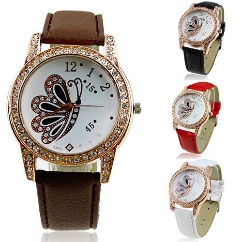 23eea9e93e5 Vendas hot elegante butterfly padrão strass analógico de pulso de quartzo  dos homens das mulheres de couro retro relógios novo design 5dfb 6ymj