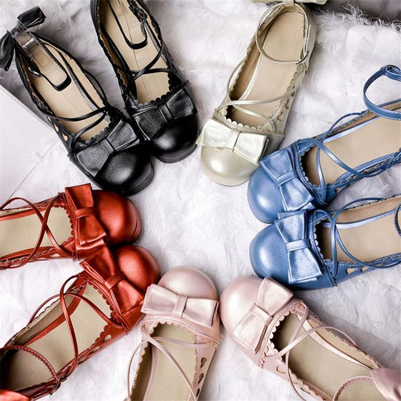 Big Size 30 48 Women Pumps Japanese Princess Lolita Shoes Sweet Bow Cross Straps High Heels Mary Janes COSPLAY Female Shoes Gold in Women 39 s Pumps from Shoes