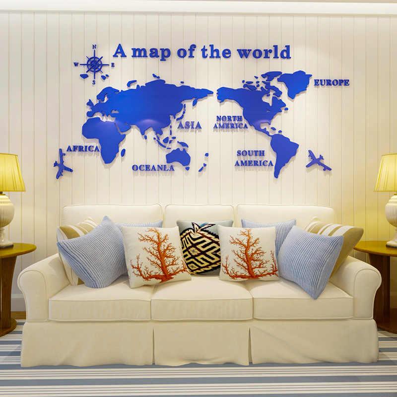 Bản Đồ thế giới DIY 3D Acrylic Tường Stickers đối với Phòng Khách Giáo Dục Bản Đồ Thế Giới Tường Decals Bức Tranh Tường cho Trẻ Em Phòng Ngủ Ký Túc Xá trang trí nội thất