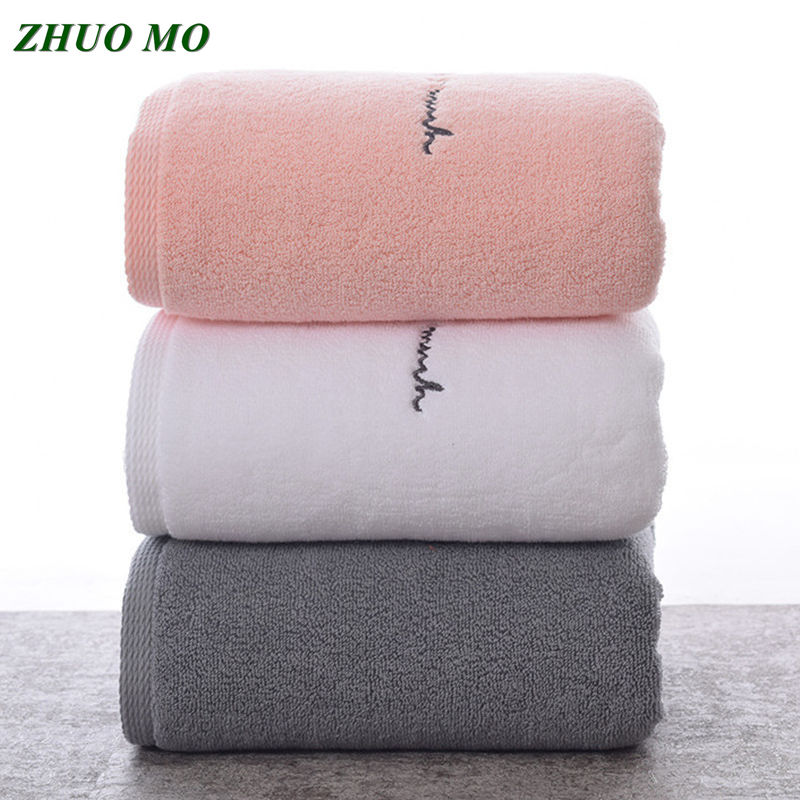 ZHUO MO Egyptian Cotton Bathroom Towels For Adults Sweet Letters Embroidered Bath Face Towel Thick Cotton Gift Towels For Lovers