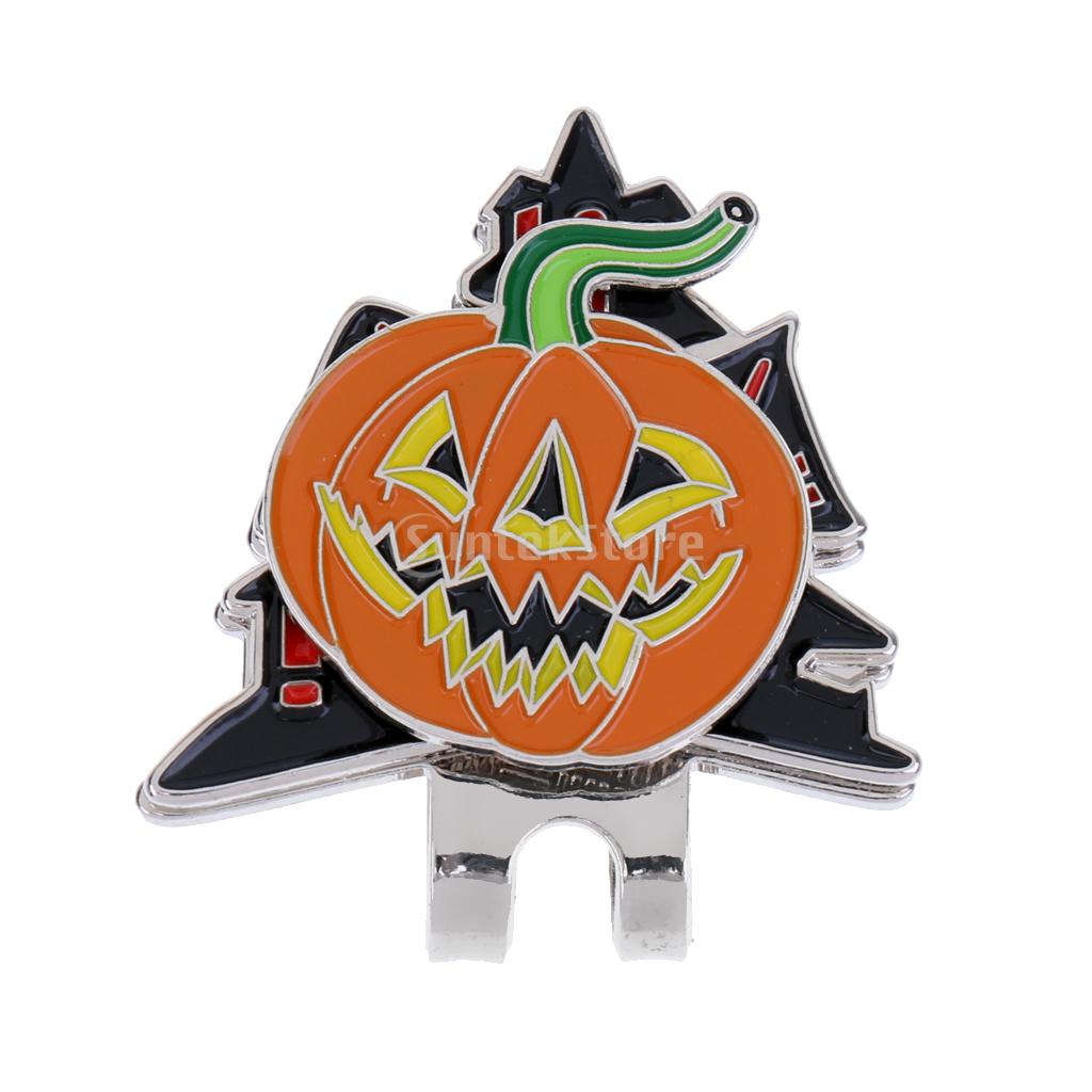 Sturdy Funny Halloween Pumpkin Magnetic Hat Clip Golf Ball Marker Fit for Golf Cap Visor Gift