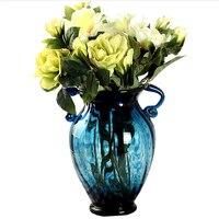 Tabletop Glass Vase Binaural Blue Vases Living Room Hydroponics Flower Arrangement Container Home Decorative Vase Vintage Europe