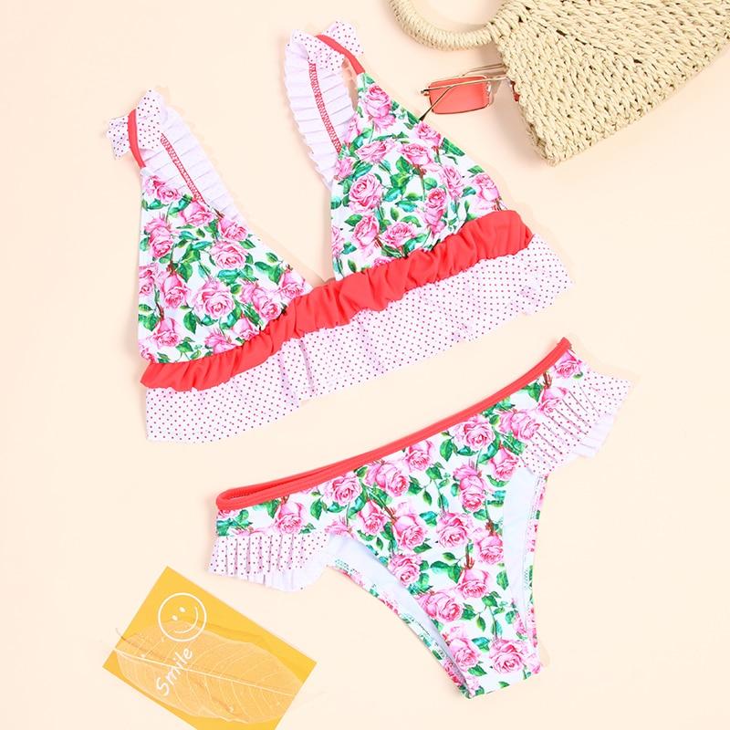 Newest Ruffle Biquines For Women 2019 Print Bikinis Female Swimwear Print Swimwear Women Suit Bath Swimsuit