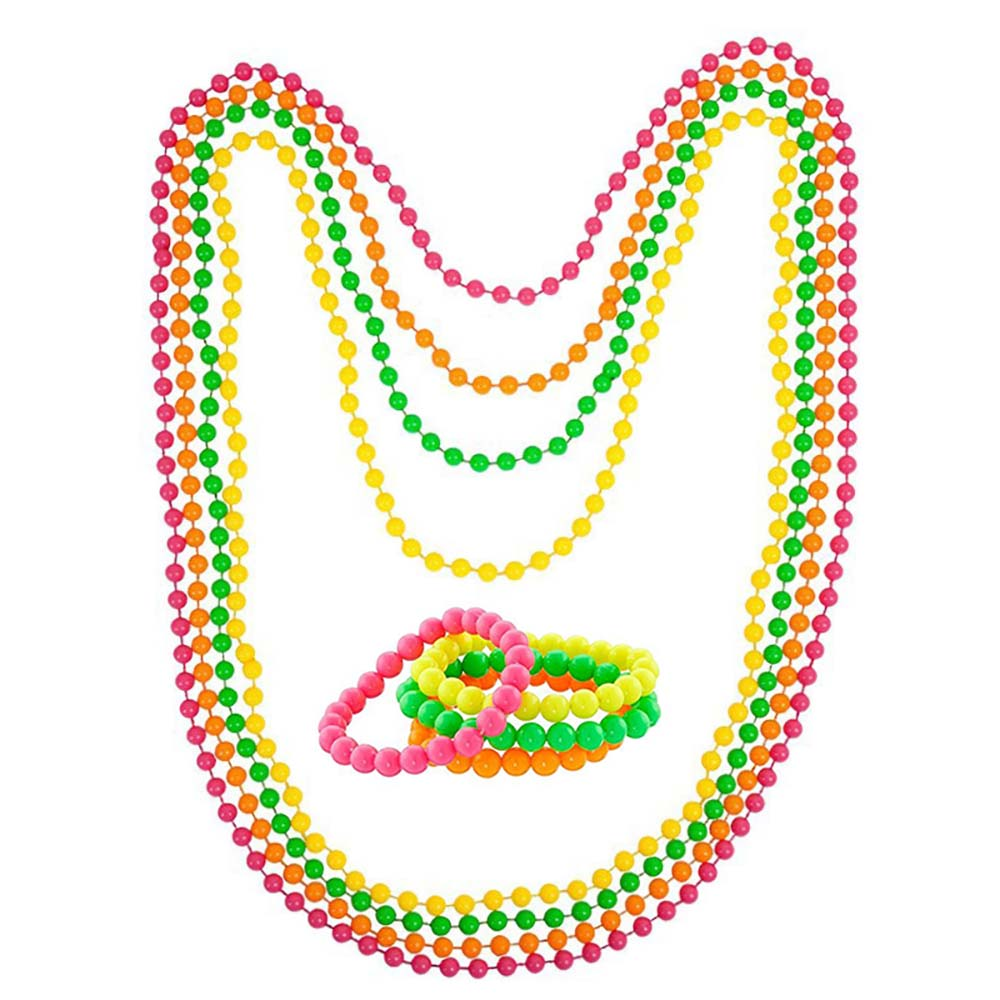 Fancy Dress 1980/'s Beaded Necklace Accessory/'s Fun Pack of 4 Bright Colorful
