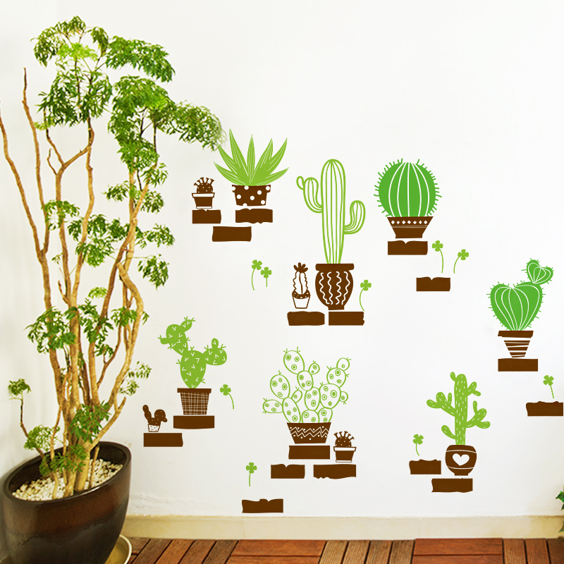 cactus bonsai style wall stickers on the wall diy bedroom home decor pvc vinyl decals. Black Bedroom Furniture Sets. Home Design Ideas
