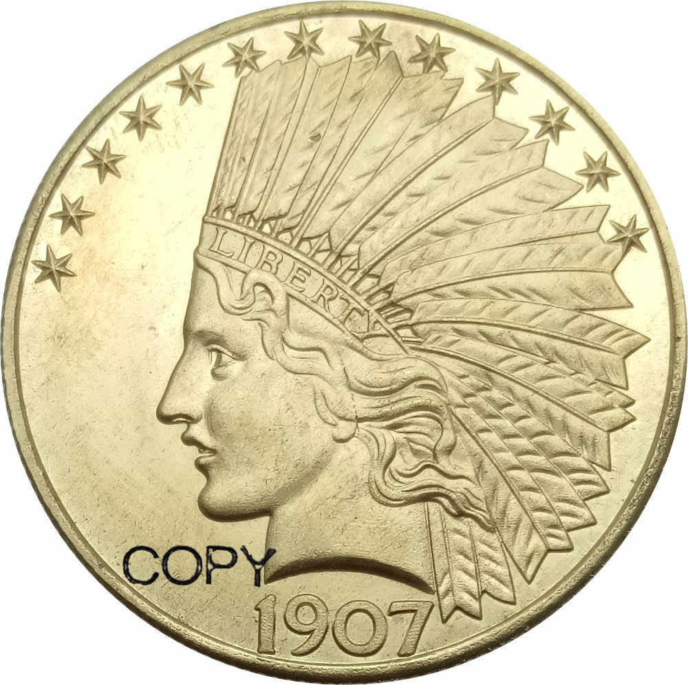 Estados Unidos Dólares 10 Indian Head Águia sem lema 1907 Copiar Moedas de Bronze