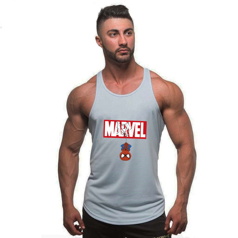 2019 New Summer Marvel Spiderman Superman Batman Printed Bodybuilding Workout Unisex Fitness   Tank     Tops   Vest Men Sleeveless Tees