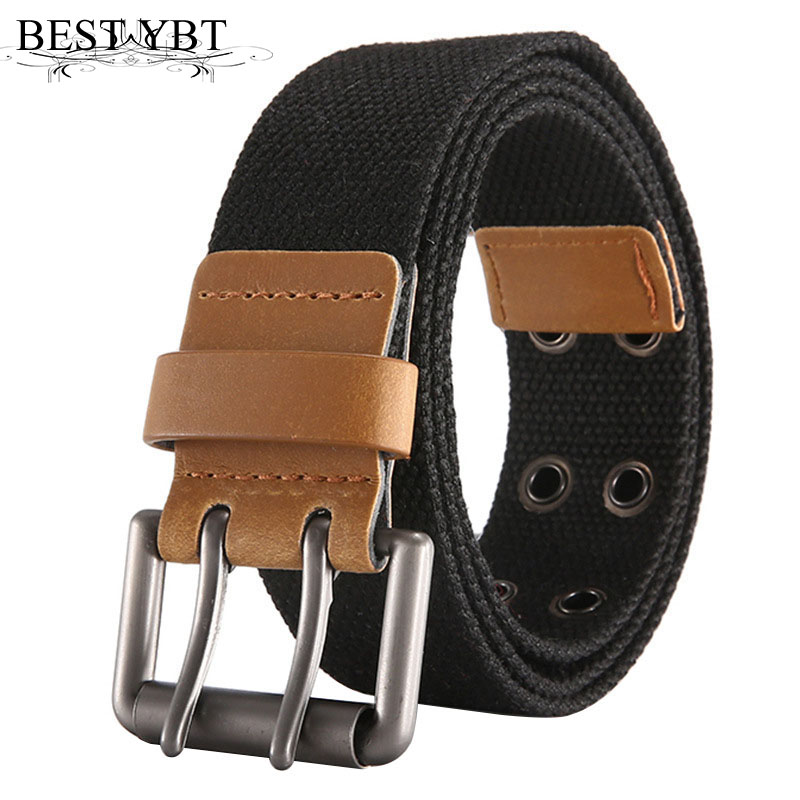 Best YBT Unisex Belt Trend Fashion Alloy Double Pin Buckle Canvas Men Belt Casual Simple High Quality Men And Women Belt