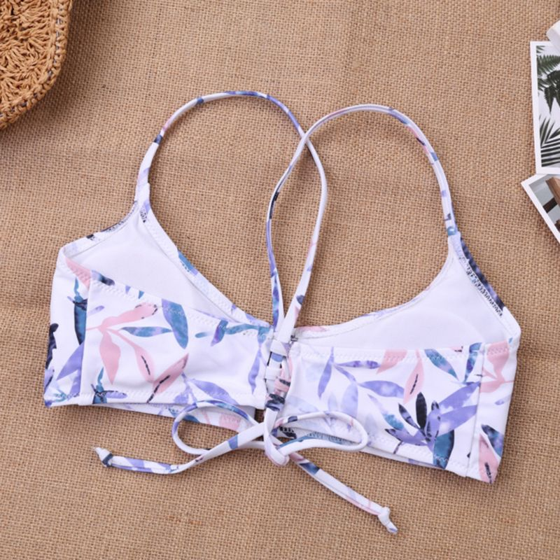 Women Sexy Two Piece Bikini Set Halter Deep Scoop Neck Keyhole Hollow Out Bra Low Waist Thong Sweet Candy Color Bamboo Leaves Pr in Bra Brief Sets from Underwear Sleepwears