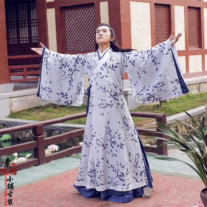 Young Qu Yuan Floral Prints Hanfu Costume Scholar Costume For 2016 Newest TV Play Si Mei Ren Song Of Phoenix