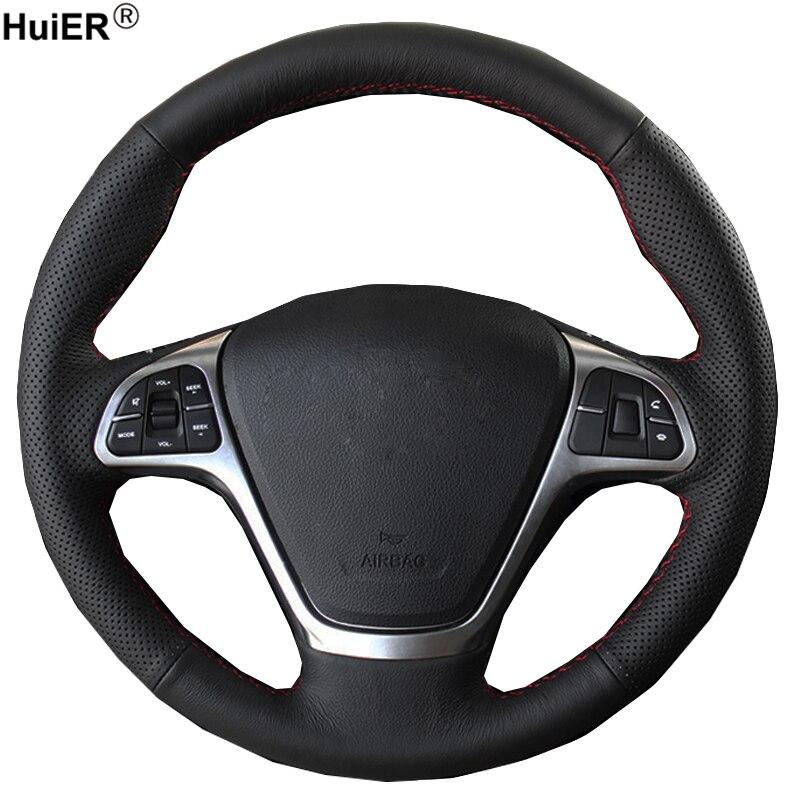 El dikiş araba direksiyon kılıfı Wrap Zotye T600 2014 2015 2016 2017 örgü direksiyon simidi üzerinde oto araba aksesuarları