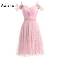 Новая мода розовый коктейльное платье 2018 Для женщин Спагетти ремень из бисера Кружево Короткие Коктейльные Платья для вечеринок Vestido coquetel