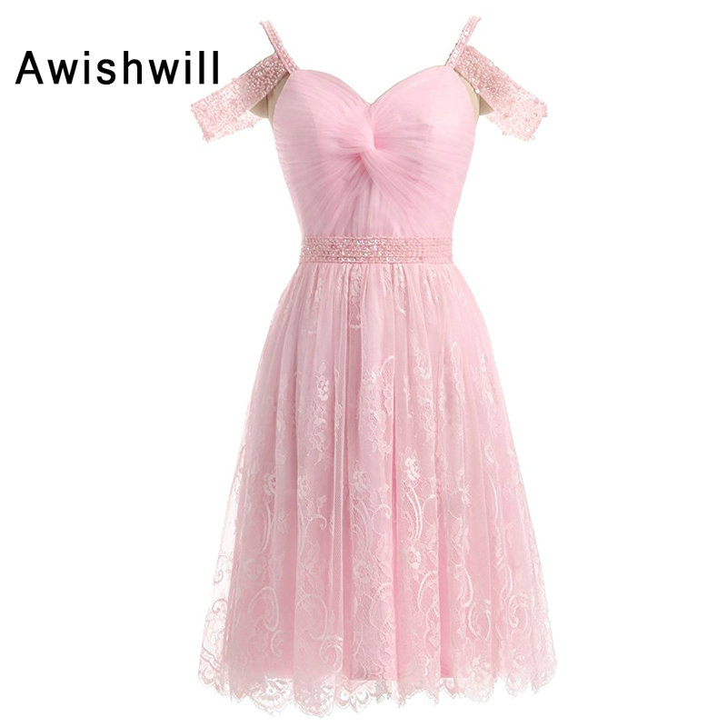 New Fashion Pink   Cocktail     Dress   2019 Women Spaghetti Strap Beaded Lace Short   Cocktail   Party   Dresses   Vestido Coquetel