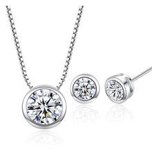 100% Silver 925 AAA Jewelry Sets for Women Round Crystal Solid Silver Free Shipping SS015