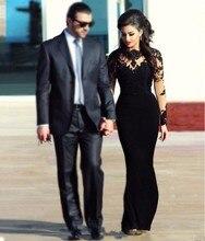 Real Black Mermaid Abendkleider Mit Langen Ärmeln Vestido De Festa Prinzessin Stil Formale Kleider Für Hochzeit Prom Kleider