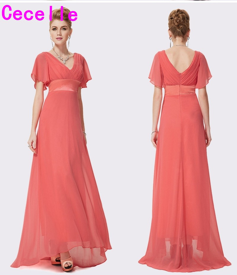 2019 Coral Ruched Chiffon A-lline Beach Long Modest Bridesmaid Dresses With Sleeves V Neck Floor Length Wedding Party Dress