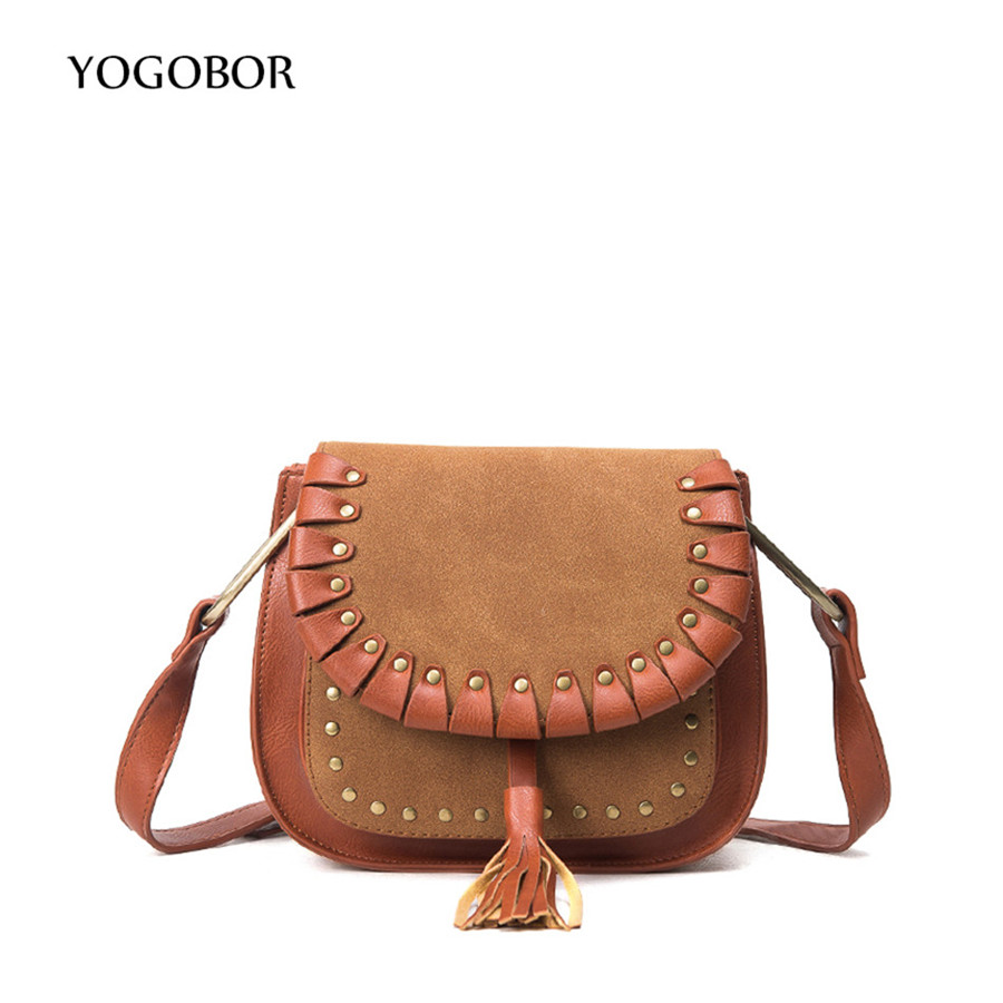 YOGOBOR 2017 Vintage Retro Saddle Bags Small Flap Shoulder Crossbody Bag For Women Female PU Leather Rivet Tassel Messenger Bags бп atx 500 вт exegate atx 500npx