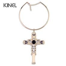 Kinel 2016 nueva joyería de las mujeres collar de cruz de cristal gargantillas collares de oro chapado joyas retro