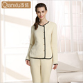 Qianxiu Pajamas Women Winter Thicken Sleepwear Suit with Buttons Cardigan Pyjamas