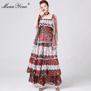 Image 2 - MoaaYina ファッションデザイナー滑走路ドレス春夏の女性スパゲッティストラップ花柄フリルレースマキシドレス