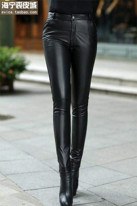 2020 корейские новые Утепленные зимние женские брюки из натуральной кожи, узкие брюки из овечьей кожи, тонкие женские модные сексуальные обтя... - 6