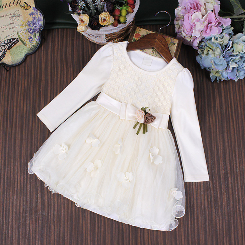 2017 New Autumn Cute Bow Girl Party Dress Wedding Birthday Girls Dresses Ball Gown Princess Clothes for children 3-9T white pink girls dresses 2017 summer new lace speaker sleeves children dress cute embroidered girl dress floral child ball gown party dress