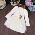 2017 Nueva Otoño Chica Arco Lindo Vestido de Fiesta de Cumpleaños de La Boda niñas Vestidos vestido de Bola de La Princesa Ropa para niños 3-9 T blanco rosa