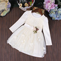 2017 Outono Nova Menina Bonito Arco Vestido de Festa de Aniversário de Casamento Vestidos de meninas vestido de Baile vestido de Princesa Roupas para crianças de 3-9 T branco rosa