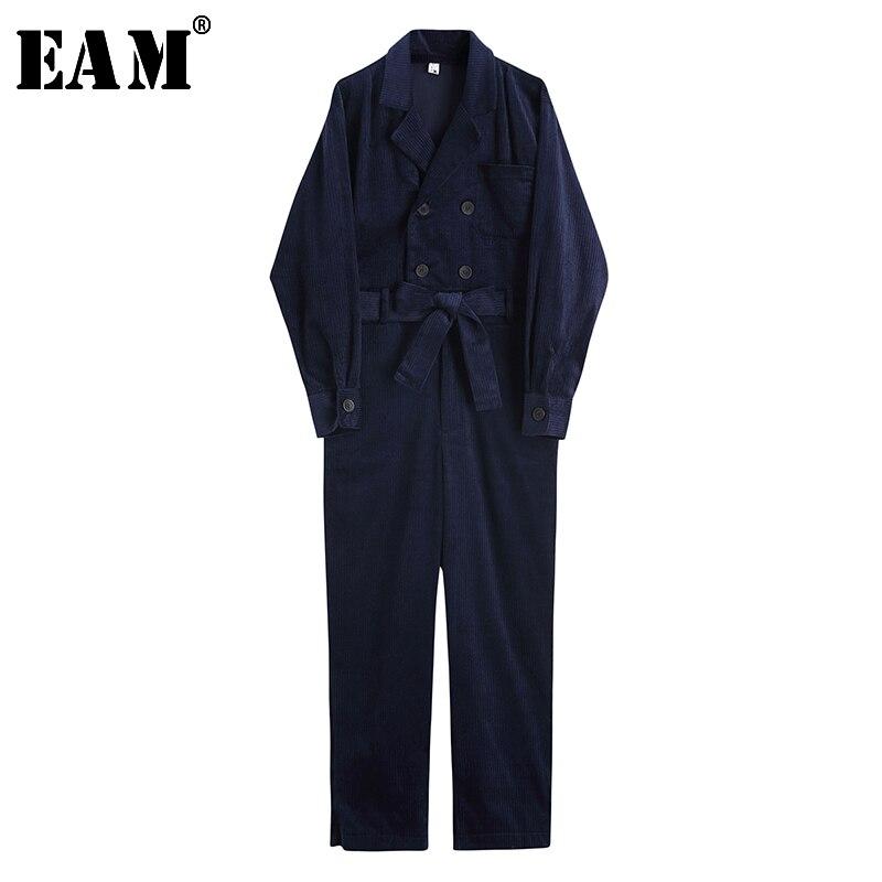 [EAM] 2019 nouveau printemps été taille haute poche point Bandage velours côtelé lâche Long pantalon femmes combinaison mode marée JQ852