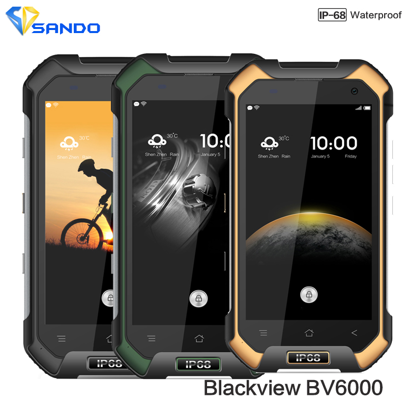 Original Blackview BV6000 smartphone 4G Android 6.0 MTK6755 Octa Core 2.0Ghz 3GB+32GB 13MP GPS Glonass Dual Navi IP68 WaterProof