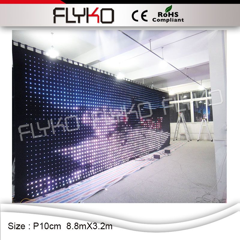 Flyko Indoor Soft Led Video Curtain Play Full Sexy Movies Led Video Cloth
