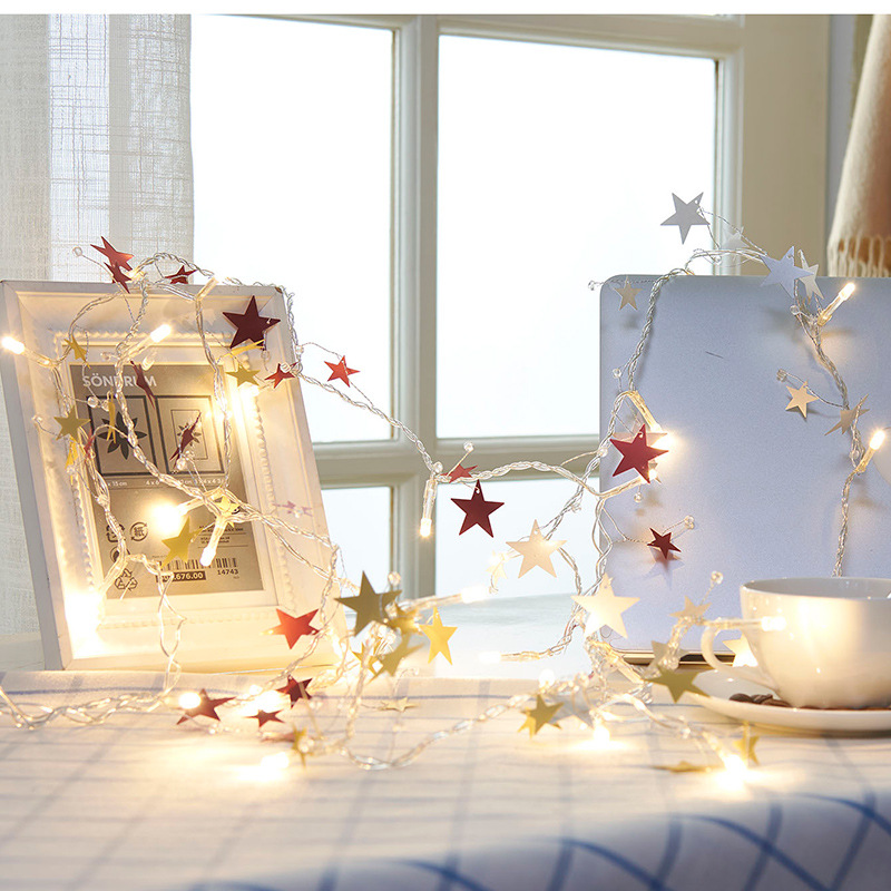 Fairy PVC Star Tree Snowflower Battery Operated String Lights 1M LED Decoration For Christmas Garland guirlande lumineuse led