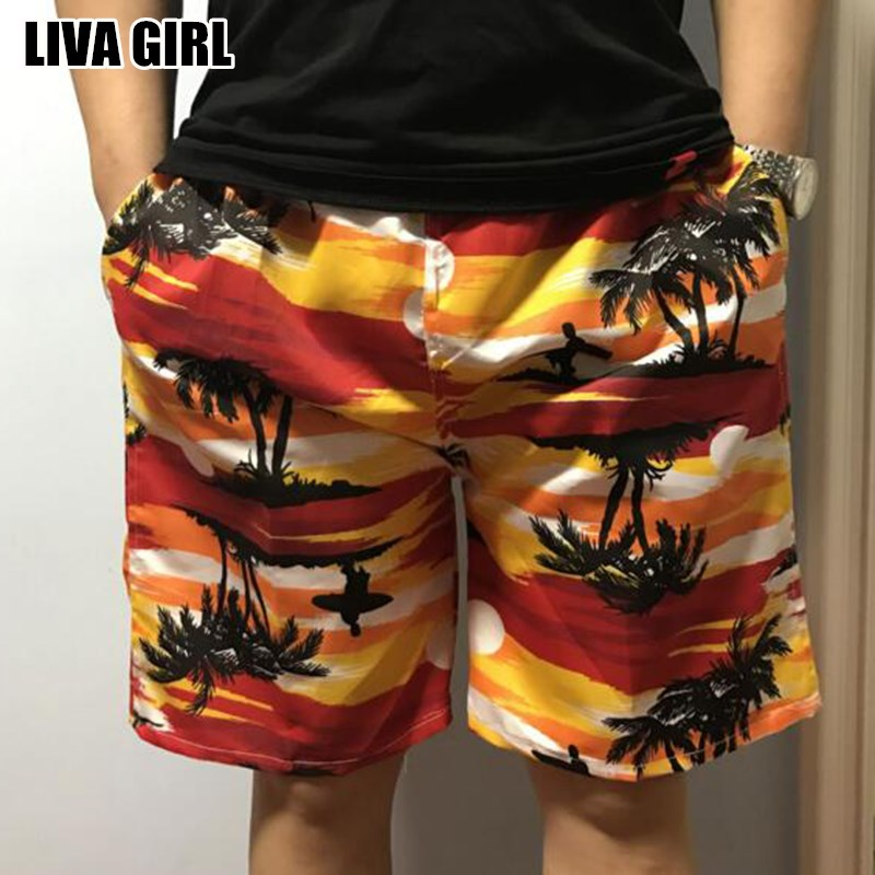 Liva Girl Hot Fresh Summer Men's Printed Board Shorts Polyester Causal Beach Boardshorts For Male Random Color One Size 4