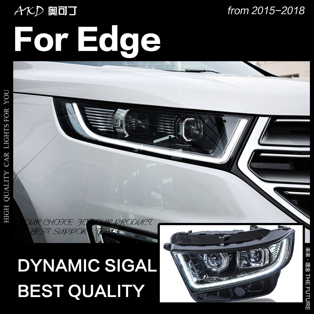 АКД стайлинга автомобилей для Ford Edge фары 2015-2018 New Edge светодиодный фар DRL Hid Глава Лампа Ангел глаз би ксенон луч аксессуары
