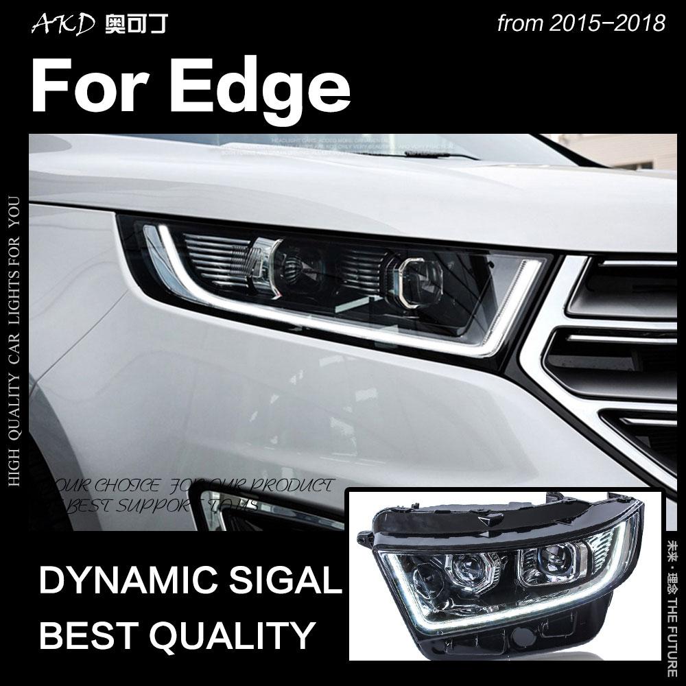 AKD Car Styling per Ford Edge Fari 2015-2018 New Edge LED DRL Del Faro Hid Testa Della Lampada Dell'occhio di Angelo bi Xeno del Fascio Accessori