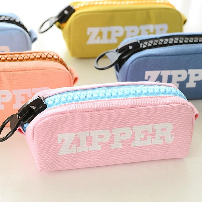 Color Large Pencil Case Big Canvas Zipper Bag Kawaii Pencil Box Pen Cases For School Bts Korean Stationery Office Supplies