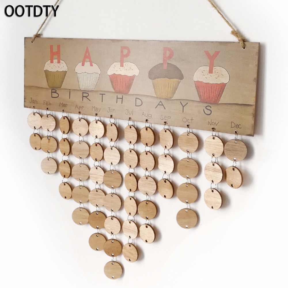 OOTDTY 50Pcs Rotondo In Legno Dischi Fette di Anello di Metallo Per Scheda di Compleanno FAI DA TE Calendario Mestiere
